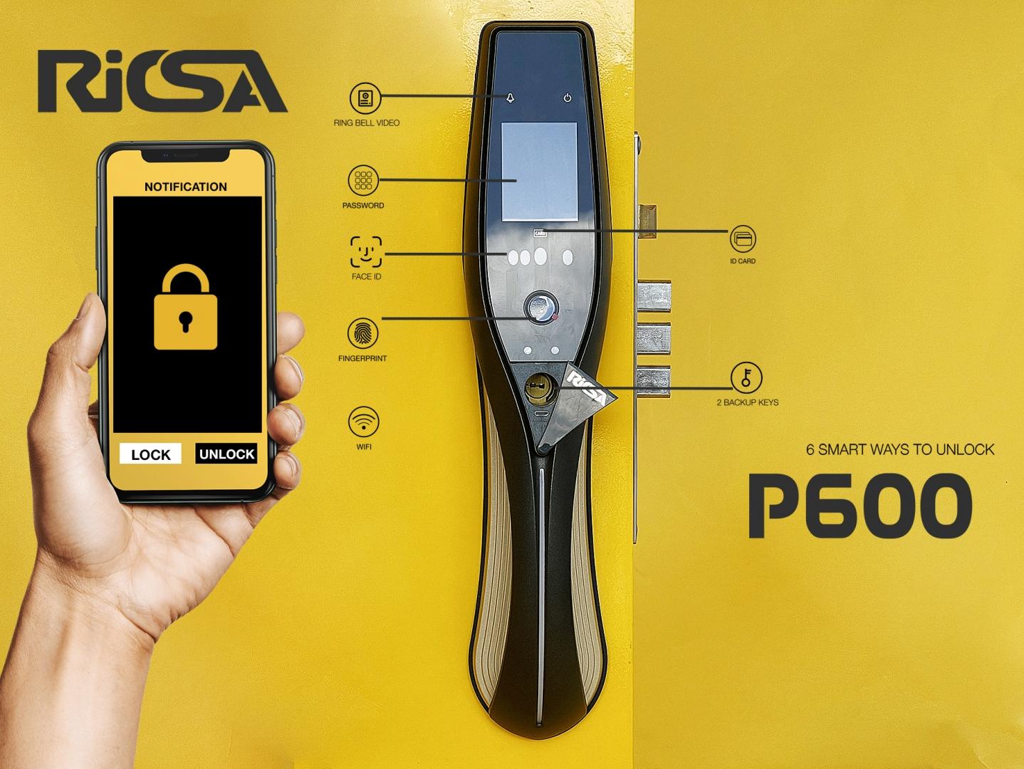 Khóa cửa FACE ID vân tay RICSA P600
